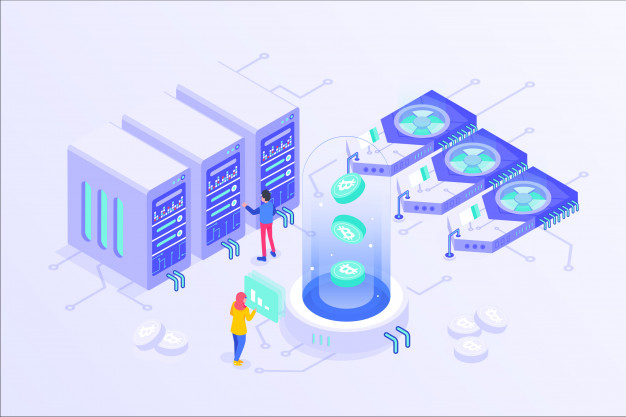 blockchain cryptocurrency bitcoin mining online server isometric vector illustartion design 148947 85